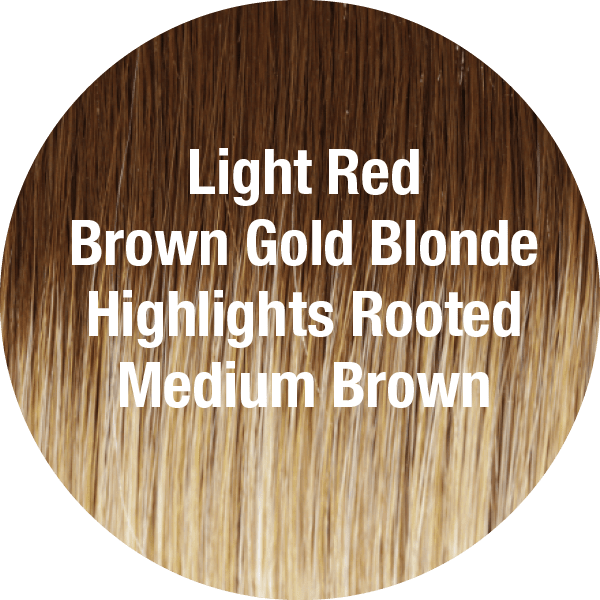 Light Red Brown Gold Blonde Highlights Rooted Medium Brown